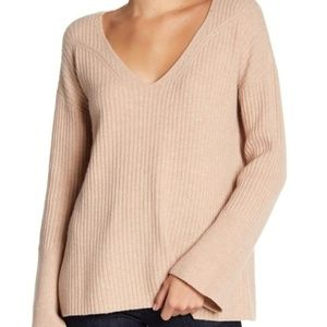 Rag & Bone Mitchell Wool V-Neck Beige Sweater